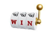 Slot machine con il segno di vittoria Immagine Stock