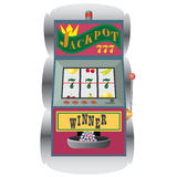 Slot machine con la combinazione di conquista. Fotografia Stock Libera da Diritti
