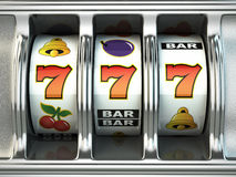 Slot machine con la posta Concetto del CASINÒ Immagine Stock