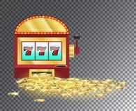 Slot machine con un mucchio delle monete di oro Immagini Stock