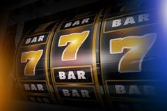 Slot Machine Concept 3D. Illustration. Golden Sevens and Bars Black Vegas Style Slots Stock Images