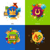Slot machine concept icons set Royalty Free Stock Photos