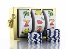 slot machine 3d con i chip Concetto del CASINÒ Fotografia Stock Libera da Diritti