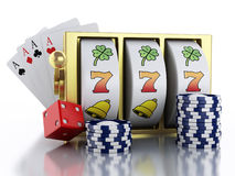 slot machine 3d con i dadi, le carte ed i chip Concetto del CASINÒ Fotografie Stock Libere da Diritti