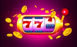 Slot machine da rotação e da vitória com ícones e moedas ilustração do vetor