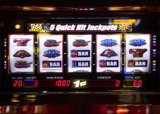 Slot machine. Detail at casino showing  no price at display Stock Images