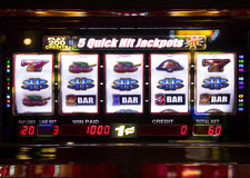 Slot machine displaying a prize. Slot machine front view displaying a prize Royalty Free Stock Photography
