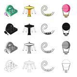 Slot machine, entertainment on the carousel, roller coaster ride, balloon. Amusement park set collection icons in. Cartoon black monochrome outline style vector Royalty Free Stock Photography