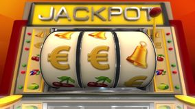 Slot machine with euro symbol stock video