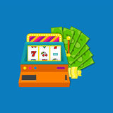 Slot machine flat vector illustration with bundle of cash aid coins. Colored on blue background. vector illustration