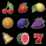 Slot machine fruit symbols Stock Photography