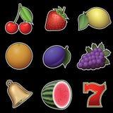 Slot machine fruit symbols. On black background stock illustration