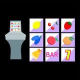 Slot machine with fruit symbols Stock Photos