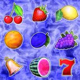 Slot machine fruits relief painting on generated marble texture Stock Photo