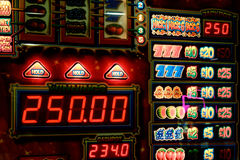 Slot machine for gambling, UK currency Stock Photos