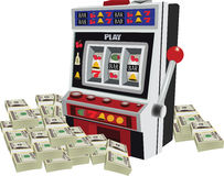 Slot machine game machine with curr. Ency heap payout Stock Photos