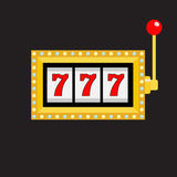 Slot machine. Golden color Glowing lamp light. 777 Jackpot. Lucky sevens. Red handle lever. Big win Online casino, gambling club s. Ign symbol. Flat design Royalty Free Stock Image