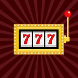 Slot machine. Golden color Glowing lamp light. 777 Jackpot. Lucky sevens. Red handle lever. Big win Online casino, gambling club s. Ign symbol. Flat design Stock Image