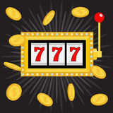 Slot machine. Golden Glowing lamp light. 777 Jackpot. Lucky sevens. Flying coin money. Red handle lever. Big win Online casino, ga. Mbling club sign. Flat design vector illustration