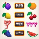Slot machine icons. Set of colorful slot machine spinning reel icons Royalty Free Stock Image