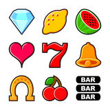 Slot machine icons set Royalty Free Stock Photography