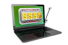 Slot machine inside laptop Royalty Free Stock Image
