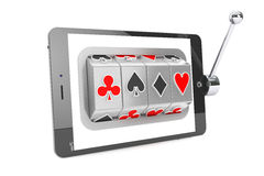 Slot machine inside Tablet PC. Online casino concept. Slot machine inside Tablet PC on a white background Royalty Free Stock Photography