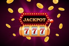 Slot machine and jackpot banner with falling golden coins royalty free illustration