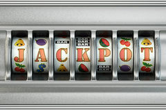 Slot machine with jackpot. Casino concept. 3d royalty free illustration