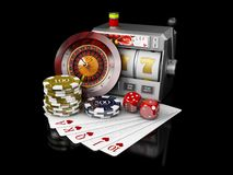 Slot machine with jackpot, Casino concept, 3d Illustration of Casino Games Elements Stock Image