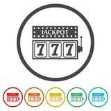 Slot Machine Jackpot, Illustration, casino concept, 6 Colors Included. Simple icons set stock illustration