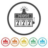 Slot Machine Jackpot, Illustration, casino concept, 6 Colors Included. Simple icons set royalty free illustration