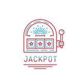 Slot machine jackpot. Slot machine, one arm bandit casino drawn in a flat lineal style. Outline icon slot machine where the jackpot falls, on white background vector illustration