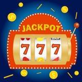 Slot machine, jackpot in the slot machine. Win on the slot machine. Flat design,  illustration Stock Image