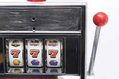 Slot machine and jackpot three seven Royalty Free Stock Photo