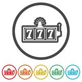 Slot Machine Jackpot, vector Illustration, casino concept, 6 Colors Included. Simple vector icons set stock illustration