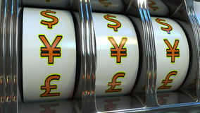 Slot machine with Japanese yen currency symbols. Forex, fortune or investor`s luck concepts. 3D rendering Royalty Free Stock Photography