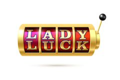 Lady Luck. Slot machine with Lady Luck text Royalty Free Stock Image