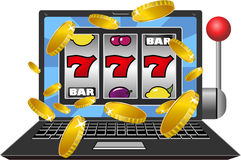 Slot Machine Laptop Royalty Free Stock Photos