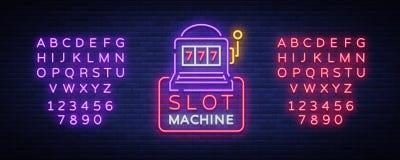Slot machine logo in neon style. Neon sign, bright luminous banner, night billboard, bright nightly advertising of. Casinos, gaming machines and gambling stock illustration
