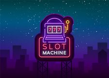 Slot machine logo in neon style. Neon sign, bright luminous banner, night billboard, bright nightly advertising of. Casinos, gaming machines and gambling for vector illustration