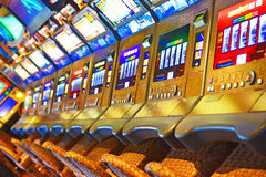Slot Machine. A lot of slot machine in the casino Stock Images