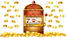 Slot machine with lots of gold coins Stock Photography