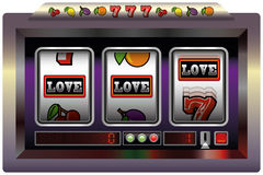 Slot Machine Love. Illustration of a slot machine with three reels, slot machine symbols and the lettering LOVE. Isolated vector on white background Royalty Free Stock Image