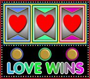 Slot machine love wins Royalty Free Stock Photo