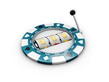Slot machine with lucky sevens jackpot on the casino chip. 3d illustration royalty free stock photos