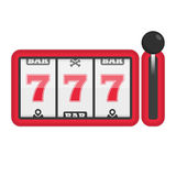 Slot machine with lucky sevens jackpot. Concept of success in game. Casino Machines vector illustration. 777 slots element gambling. EPS 10 Royalty Free Stock Photography