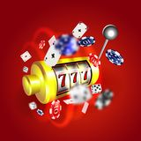 Slot machine lucky sevens jackpot concept 777. Vector casino game. Slot machine with money coins. Fortune chance jackpot Stock Photography