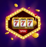 Slot machine lucky sevens jackpot concept 777. Vector casino game. Slot machine with money coins. Fortune chance jackpot.  vector illustration