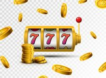 Slot machine lucky sevens jackpot concept 777. Vector casino game. Slot machine with money coins. Fortune chance jackpot.  royalty free illustration